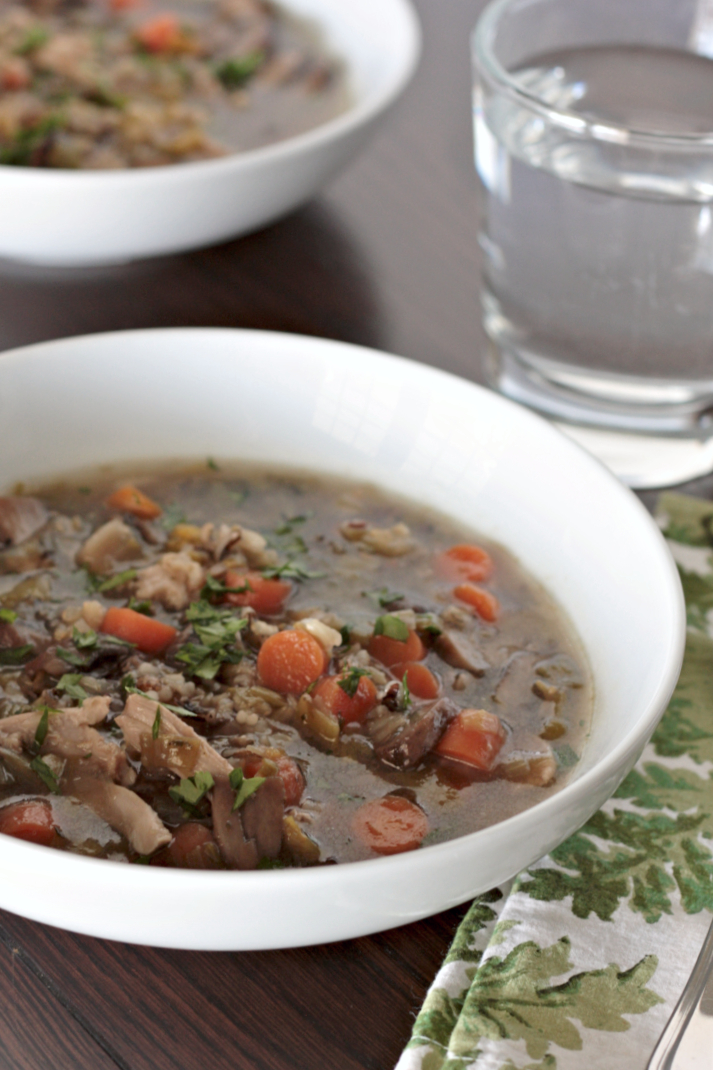 chicken rice soup with leeks and mushrooms