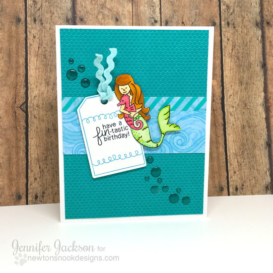 Mermaid Card by Jennifer Jackson | Inky Paws Challenge | Tag Sampler and Summer Scoops Stamp sets by Newton's Nook Designs #newtonsnook