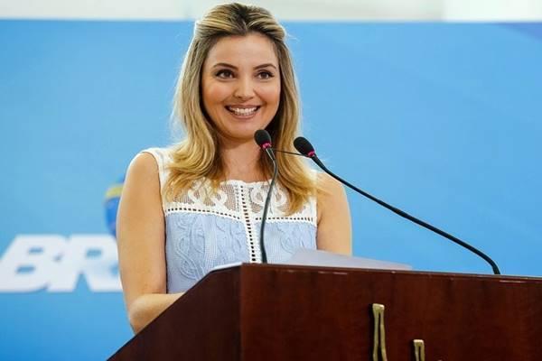 Primeira-dama Marcela Temer durante cerimônia de Lançamento do Programa Criança Feliz no Palácio do Planalto
