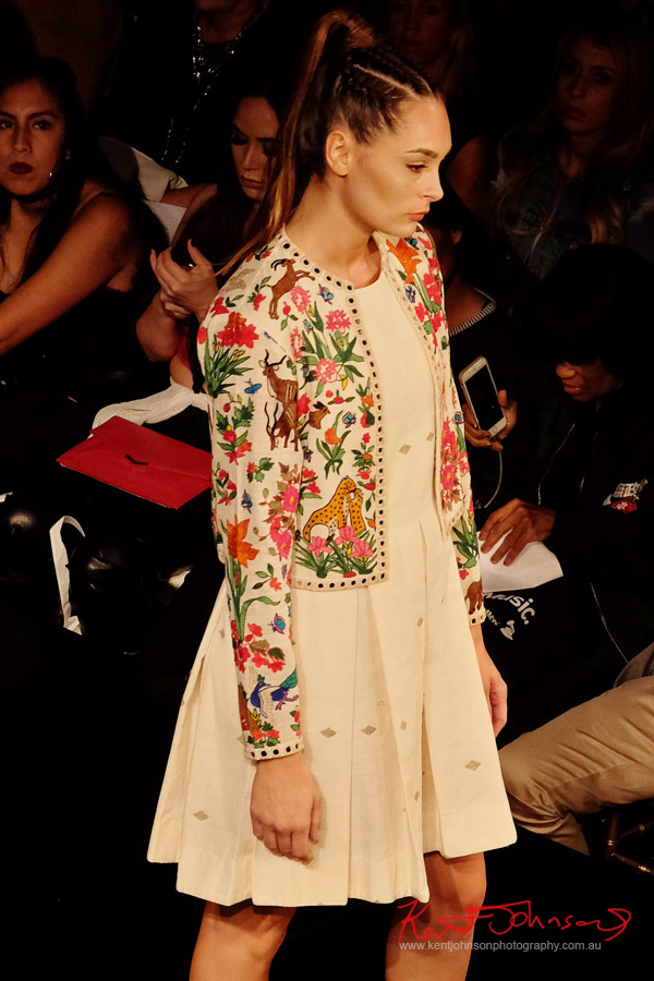 Beautifully embroidered jacket. Purvi Doshi shows at New York Fashion Week with Art Hearts Fashion. Photography by Kent Johnson for Street Fashion Sydney.