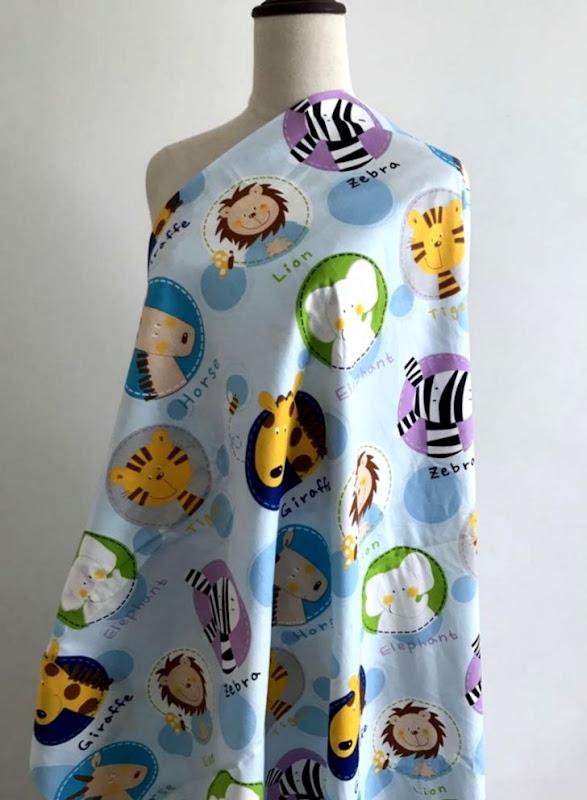 ≧100% cotton cartoon zoo animals blue tri angle twill cloth DIY