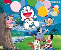 gambar Doraemon dan teman-teman bermain