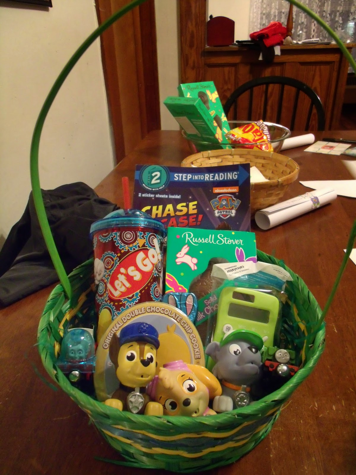 Sunday easter baskets with the kids and dinner with the grandparents negle