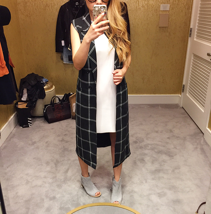 Nordstrom anniversary sale, NSale,plaid vest coat, topshop dress, toms peep toe booties