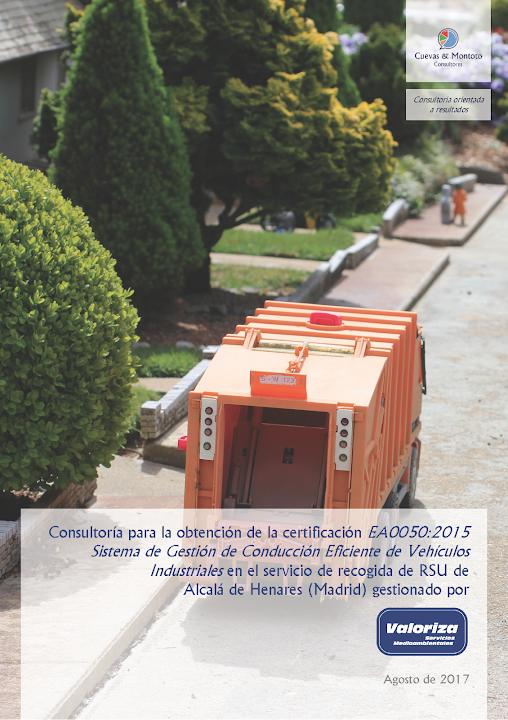 Portada del contrato por el que Cuevas y Montoto Consultores ayudará a Valoriza Servicios Medioambientales a obtener la certificación EA0050:2015 de Conducción Eficiente en Alcalá de Henares.