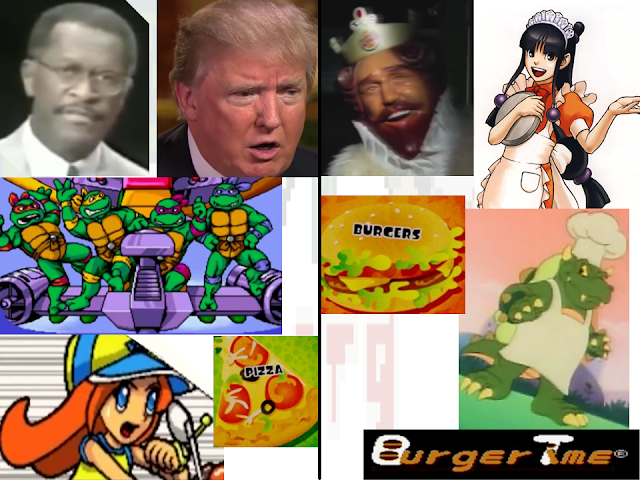 Team Pizza Burgers Herman Cain Donald Trump Mona Teenage Mutant Ninja Turtles King Maya Fey King Koopa BurgerTime banner Splatfest
