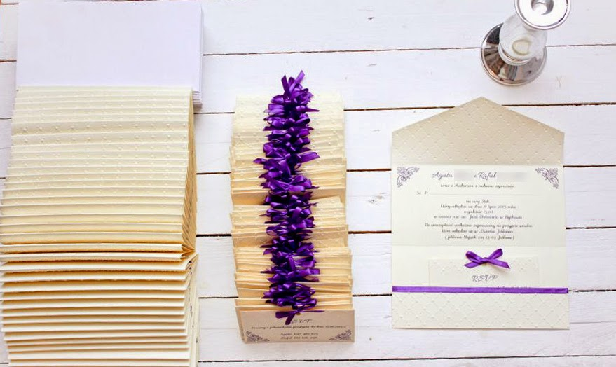 eleganckie zaproszenia ślubne fiolet