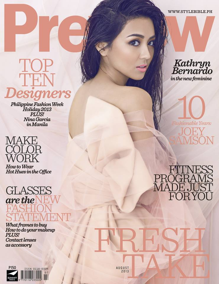 kathryn bernardo on the cover of preview magazine wazzup pilipinas