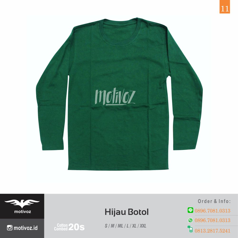 Katalog Kaos Polos O Neck Lengan Panjang Dengan 23 Warna Favorit Green Misty 11 Hijau Botol