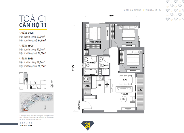 Mặt bằng căn hộ 10 tòa C1 dự án Vinhomes Trần Duy Hưng