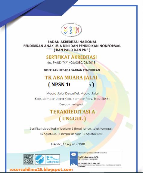 contoh sertifikat akreditasi PAUD dan PNF terbaru