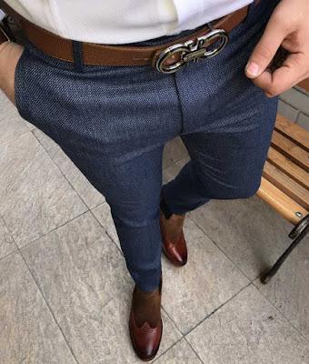 İtalyan kesim dar pantolon mavi renk