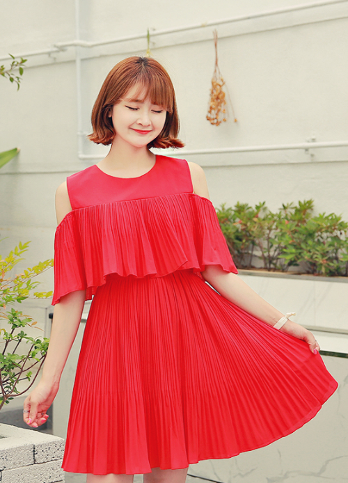 Cold Shoulder Elastic Waistband Pleated Dress