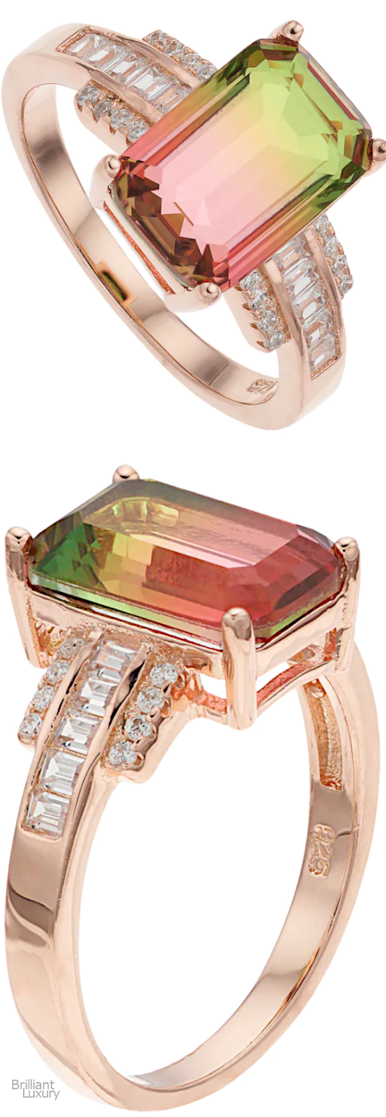 Brilliant Luxury♦18k Rose Gold Over Silver Watermelon Cubic Zirconia Ring