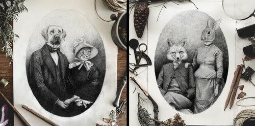 00-Mike-Koubou-Animal-Family-Album-Portrait-Drawings-www-designstack-co