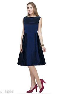 Solid Navy Blue Knee length Taffeta Silk Dress
