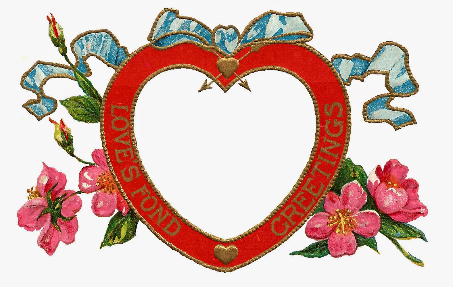 Antique Images Free Digital Valentine Printable Red Heart - Heart Frames For Photos
