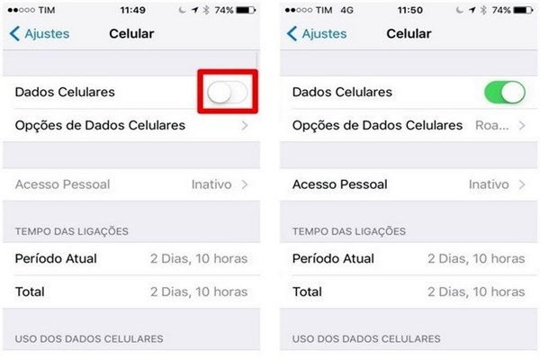 No iPhone, acesse Ajustes, entre em Celular e desative a chave Dados Celulares