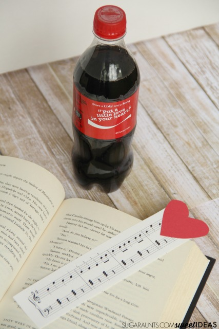 Make a music heart bookmark craft and enjoy a great book along with a Share a Coke and a Song!