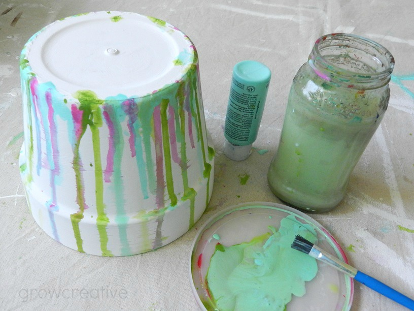 Painted and Watercolor Dripped Terracotta Pot Craft Tutorial