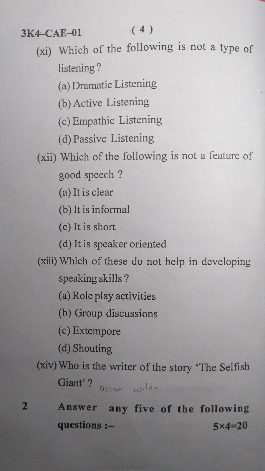 Zoot Games: Question Paper of English and Communication Skills-I