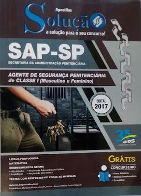 SAP-SP Agente de Segurança Penitenciária de Classe 1 (Masculino e Feminino) Valor R$50,00 da apostila
