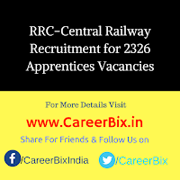 RRC-Central Railway Recruitment for 2326 Apprentices Vacancies