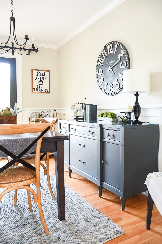 modern farmhouse dining room, painted vintage server, sherwin-williams iron ore.