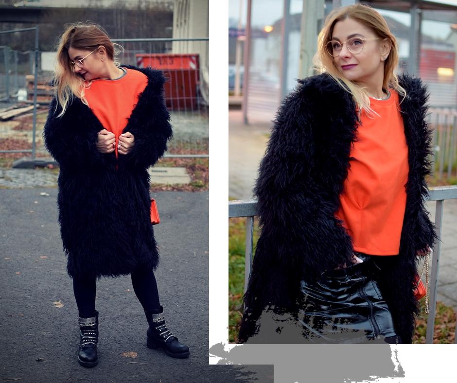 NA-KD Fashion Fakefur Mantel und Lackleder Rock, Orange und Schwarz