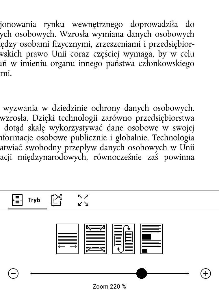 PocketBook Touch Lux 4 – przykład użycia przybliżenia w pliku PDF