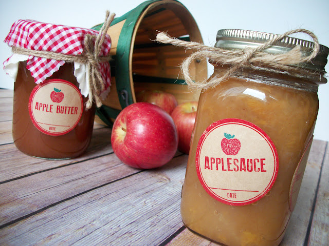 Kraft Rubber Stamp Applesauce or Butter Canning Jar Labels
