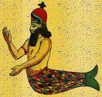 Изображение на божеството Дагон Даган  с опашка на риба