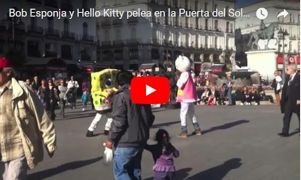 Bob Esponja y Hello Kitty , se entran a puños.