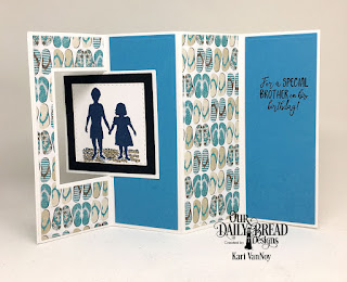 Our Daily Bread Designs Stamp Set: Brother In Christ, Custom Dies: Lever Card, Lever Card Layers, Lattice Background (used as a stencil), Paper Collection: By the Shore Collection