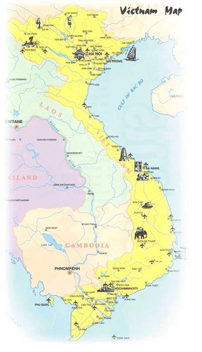 Mapas Geográficos  do Vietnã