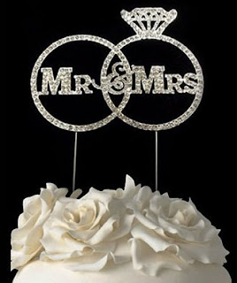 Rhinestone Mr and Mrs themed in Ring Design Wedding Cake Topper