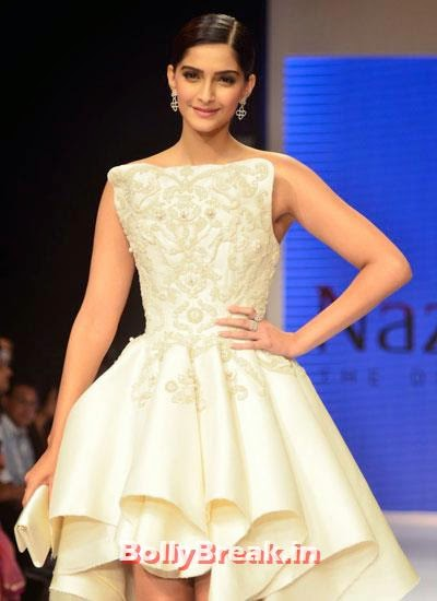 Sonam Kapoor was the show stopper for Rio Tinto's Nazraana at IIJW 2014, Sonam Kapoor Pics in White Gown Dress at IIJW Fashion Show 2014