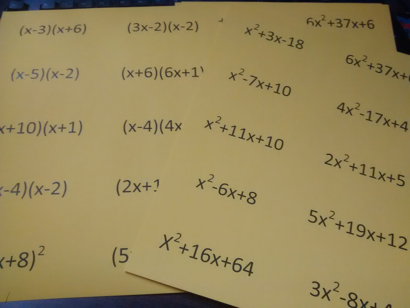 Factoring Trinomials Self-Checking Practice Activity