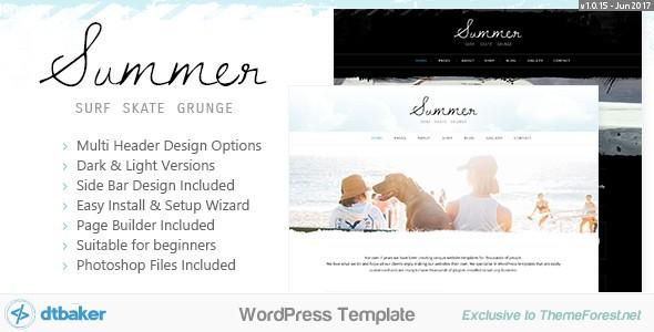 Summer Surf Beach Grunge Blog And Shop Wordpress Themes