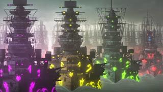 Screen z Aoki Hagane no Arpeggio: Ars Nova przedstawiający okręty Floty Mgły