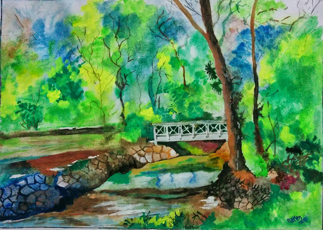 Bridge on a stream by Narendra Gangakhedkar - part of his portfolio on www.indiaart.com