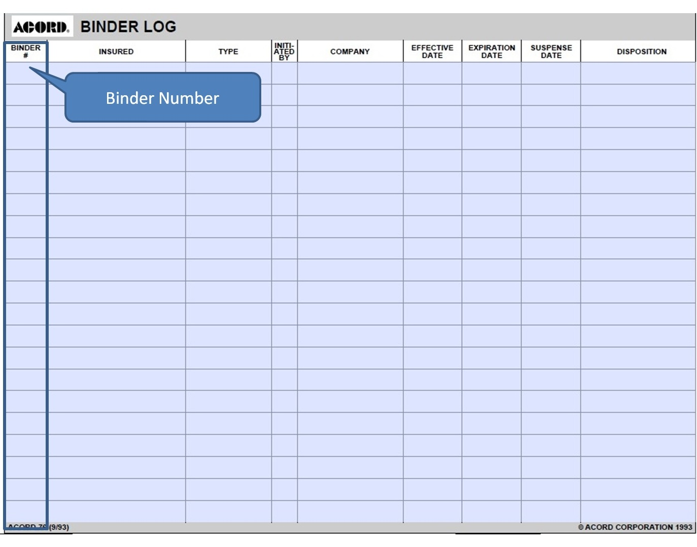 Simply Easier Acord Forms Acord 76 Binder Log Instructions