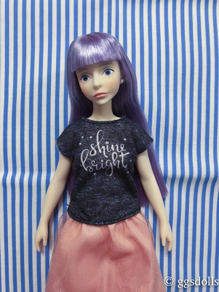 2018 Barbie Doll Fashion Pack BLACK SHINE BRIGHT SHIRT AND PEACH TUTU SKIRT