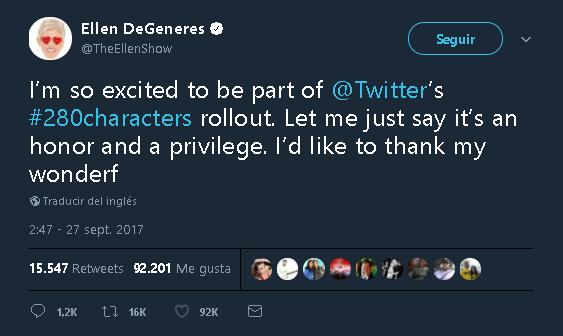 Estoy tan emocionada de ser parte de la prueba de los #280caracteres de @Twitter.  Permítanme decir que es un honor y un privilegio.  Me gustaría agradecer a mi wonderf