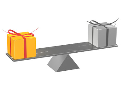 One colorfully wrapped gift is on one side of the seesaw, on the other side is a dull looking gift