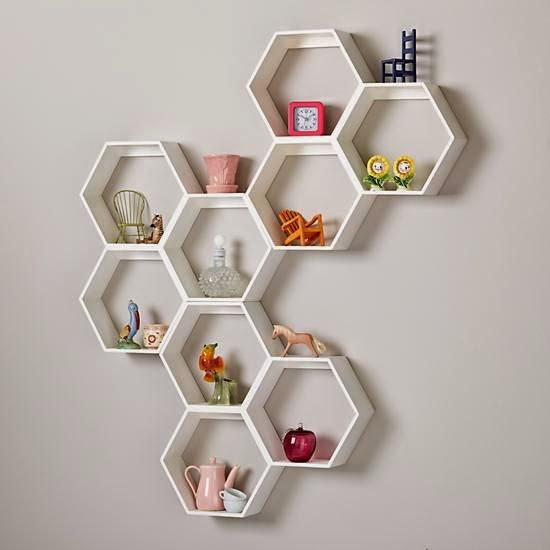 Land of Nod white honeycomb shelves