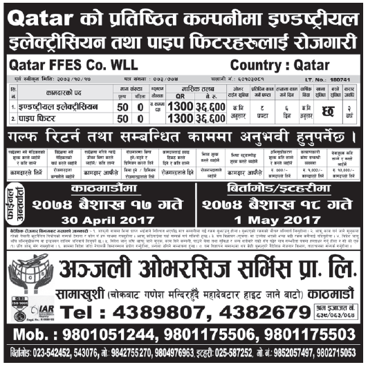 Jobs in Qatar for Nepali, Salary Rs 36,600