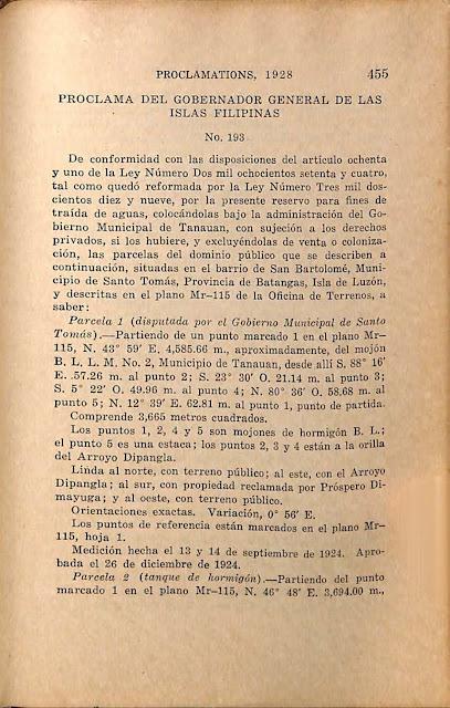 Proclamation No 193 s. 1928 Spanish version.
