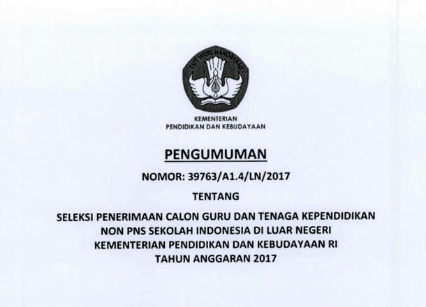 Seleksi (Rekrutmen) Guru Non PNS pada SILN (Sekolah Indonesia Luar Negeri) Kemdikbud RI 2017
