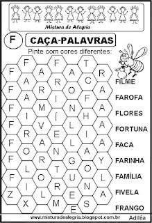 Caça-palavras letra F